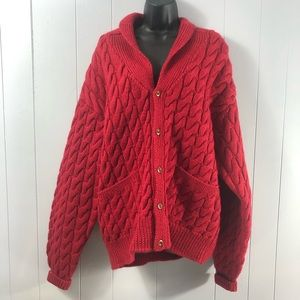 Orvis cable knit wool oversized cardigan sweater L